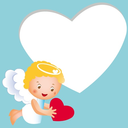 Cute happy and small angel with heart Vector