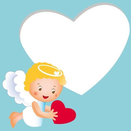 Netter glücklicher und kleine Engel mit Herz