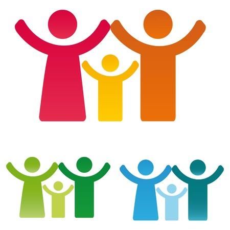 familia unida: Pictograma cifras que muestran la familia feliz