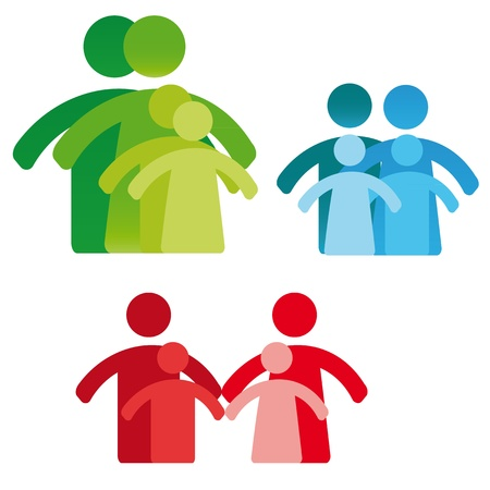 solidarity: Pictogram showing figures four person family