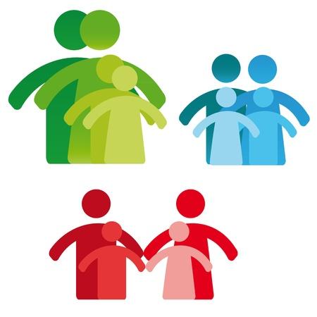 Piktogramm zeigt Figuren Vier-Personen-Familie Illustration