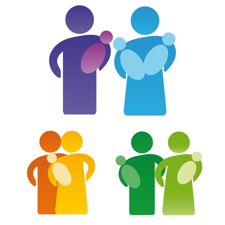 Pictogram showing figures happy family Vector