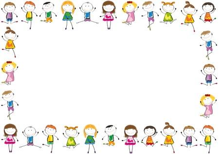 ni�os jugando en la escuela: Los ni�os peque�os y una sonrisa jugando y bailando Vectores