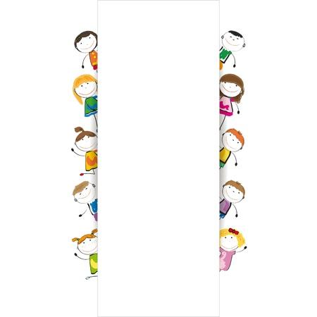 Klein en glimlach kinderen met banner Stock Illustratie