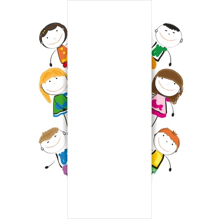 animated action: Small and smile kids with banner