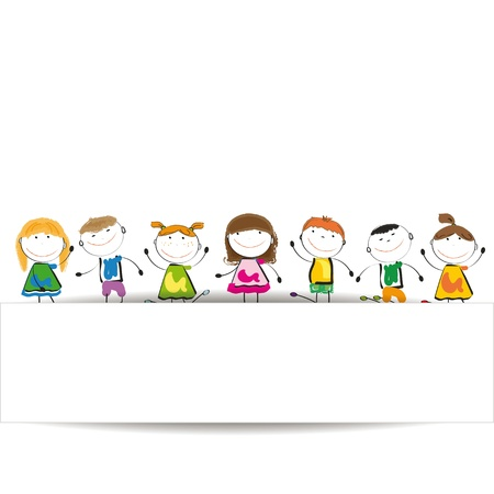 enfants peinture: Les petits enfants et le sourire avec la banni�re Illustration