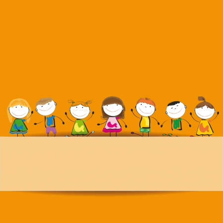 Small and smile kids with banner Stock Vector - 12747258