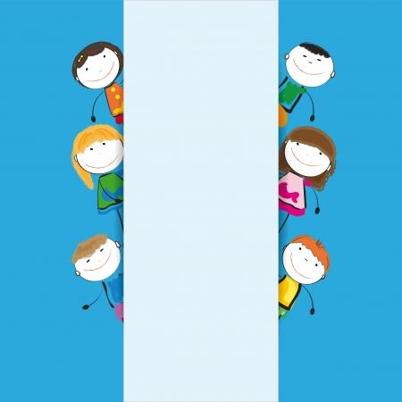 ni�os con pancarta: Los ni�os peque�os y la sonrisa con bandera