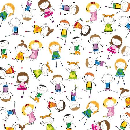 tanzen cartoon: Kleine und Lächeln Kinder spielen und tanzen