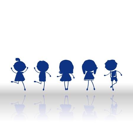 ni�os bailando: Silueta de los ni�os y los peque�os jugando y bailando