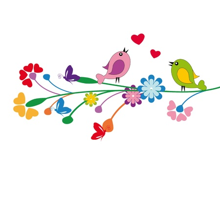 birds eye: Cute kids cartoon with flowers and birds Illustration