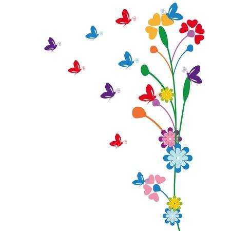 꽃과 나비와 함께 귀여운 아이 만화