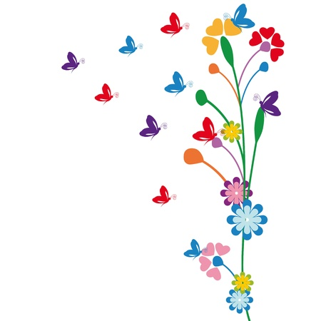 butterflies flying: Cute kids cartoon with flowers and butterfly