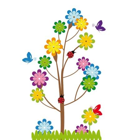 butterfly ladybird: Los ni�os lindos de la historieta con el �rbol y las flores