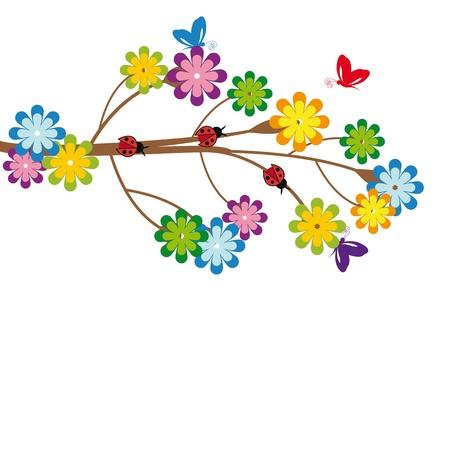 나무와 꽃 귀여운 아이 만화 일러스트