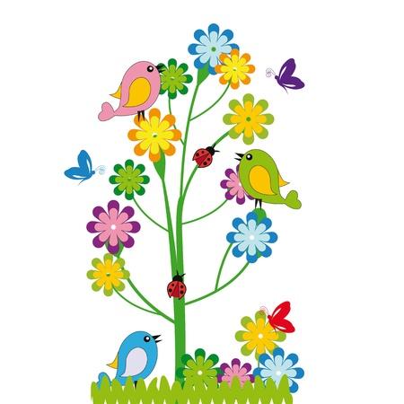 flor caricatura: Los niños lindos de la historieta con flores y pájaros