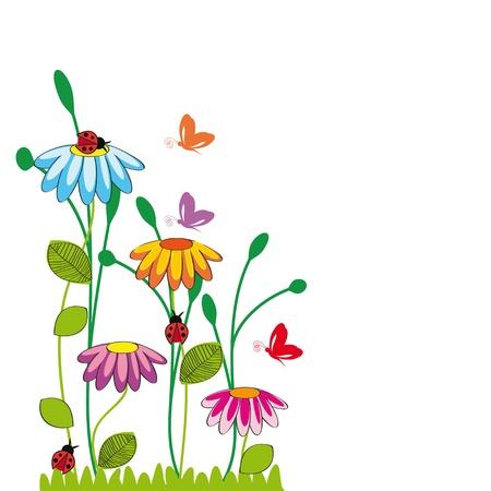 butterfly ladybird: Los ni�os lindos de la historieta con flores y mariposas Vectores