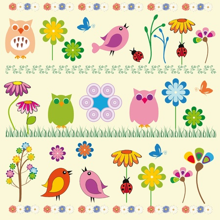 nature flowers: Cute kids background with flowers and birds