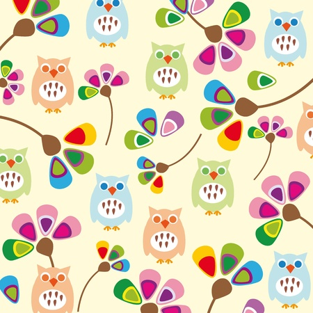 joy of life: Cute kids background with flowers and owls Illustration
