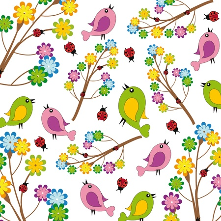 Cute kids background with flowers and birds Vector