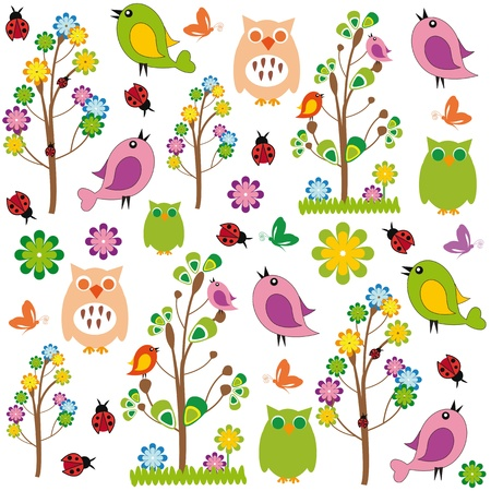 ladybug: Cute kids cartoon with flowers and birds Illustration