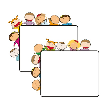 Small and smile kids with banner Stock Vector - 12747288