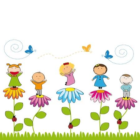 bimbi che giocano: Bambini piccoli e sorridere con i fiori in giardino Vettoriali