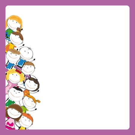 enfants peinture: Les petites et sourire les enfants color�s avec la banni�re