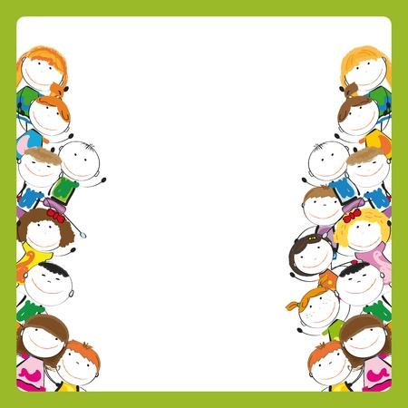 Kleine en glimlach kleurrijke kinderen met banner Stock Illustratie