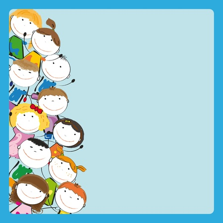 Small and smile colorful kids with frame Vector