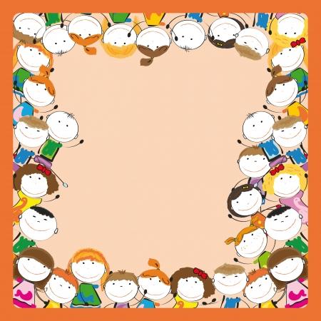 Kleine und L�cheln bunte Kinder mit Rahmen