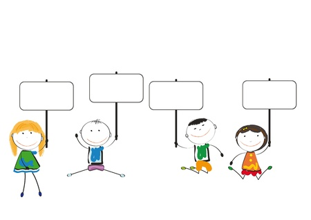 children group: Small and smile colorful kids with banner Illustration