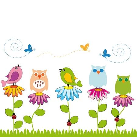schattige dieren cartoon: Leuke kinderen achtergrond met bloemen en vogels