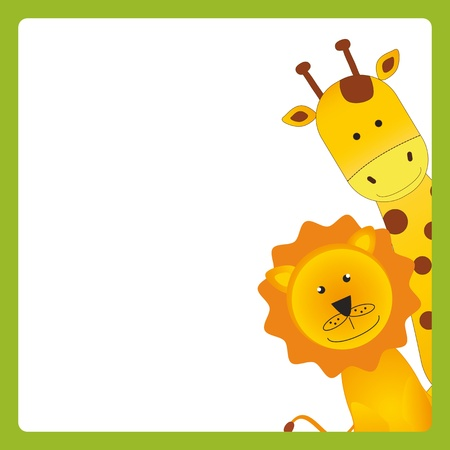 giraffe cartoon: Cute kids card with young african animals Illustration