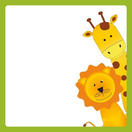 leon bebe: Ni�os lindo con la tarjeta de animales j�venes africanos Vectores