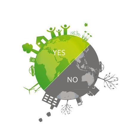contaminacion ambiental: Proteger a la Tierra: los símbolos del medio ambiente en la tierra limpia o sucia Vectores