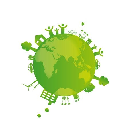 Protect the Earth: environment symbols on clean earth Vector