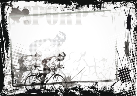 bicycling: Grunge sport background with bicycler, abstract background Illustration