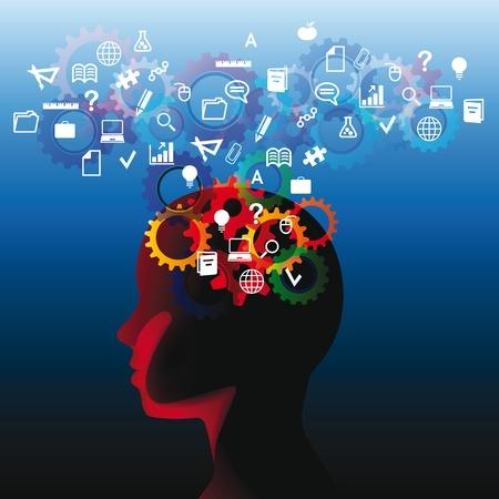 knowledge: Menschlicher Kopf mit vielen Fragen, denken abstrakter Illustration