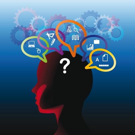 psicologia infantil: Cabeza humana con la pregunta de muchos, el pensamiento abstracto