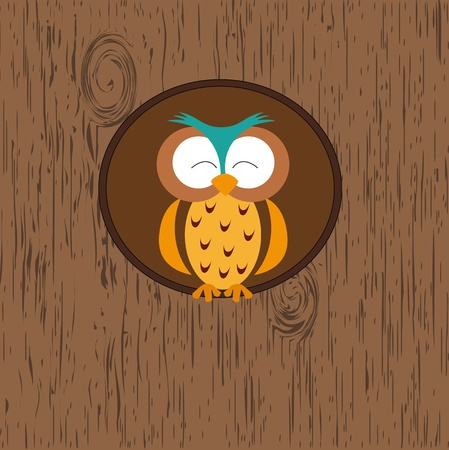 Abstract background with owl in hollow on tree Vector