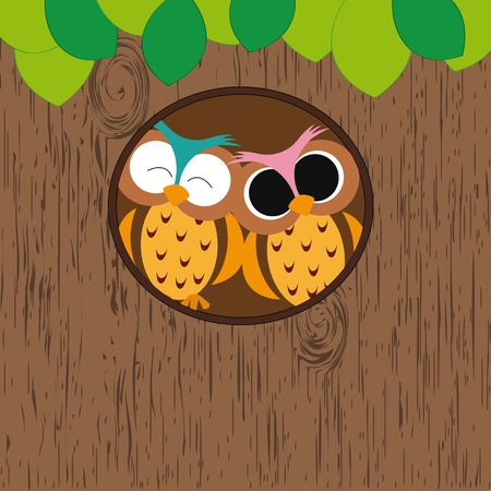 owl cartoon: Abstract background with owls in hollow on tree Illustration