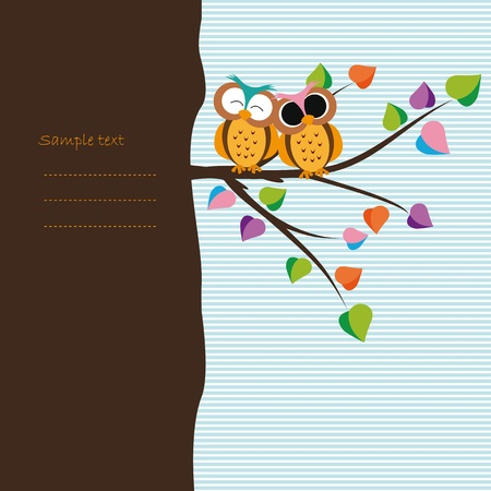 cute border: Abstract background with owls on tree branch