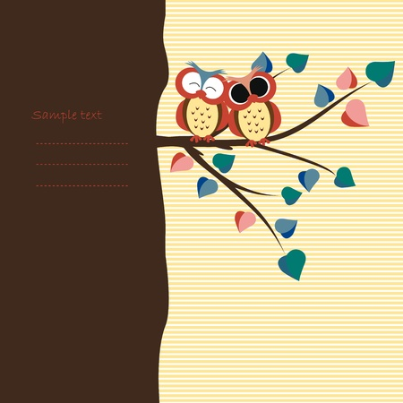 Abstract background with owls on tree branch Vector