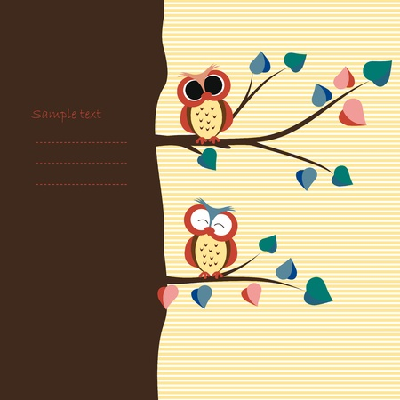 Abstract background with owls on tree branches Vector