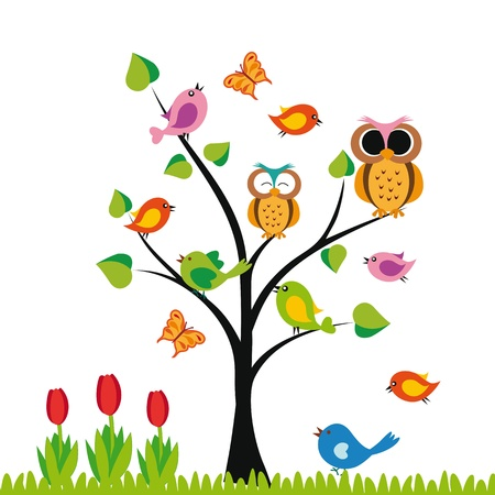 flower drawings: Cute kids background with trees and birds
