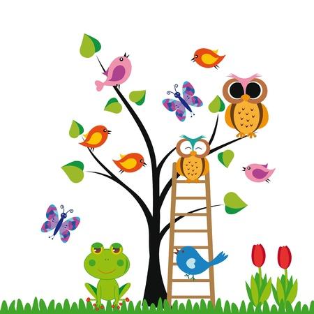 schattige dieren cartoon: Leuke kinderen achtergrond met bomen en vogels