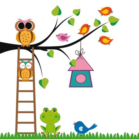귀여움: 나무와 새 귀여운 아이 배경