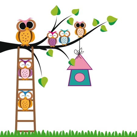 insect leaf: Cute kids background with trees and owls Illustration