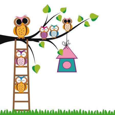 Los niños de fondo linda con los árboles y los búhos